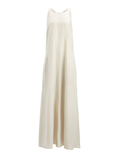 Parachute Silk Penn Dress, in COCONUT, large | on Joseph