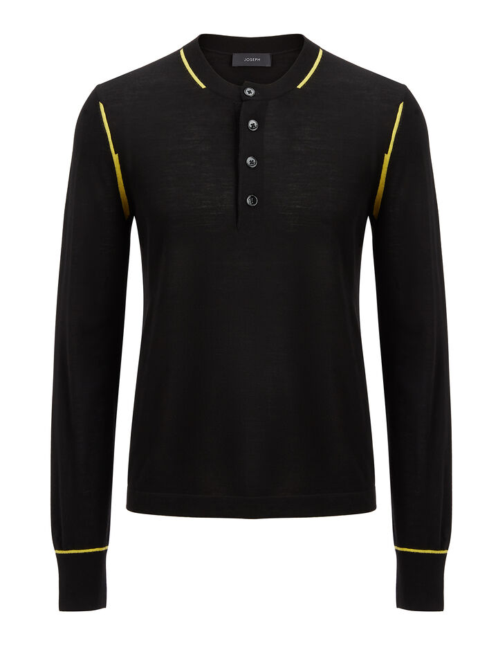 Joseph, Light Merinos Henley, in BLACK