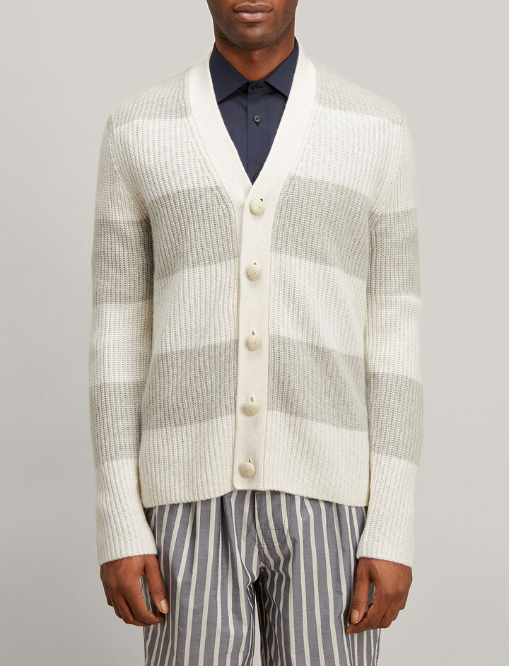 Joseph, Cardigan Cashmere Stripe Cardigan, in GREY/ECRU