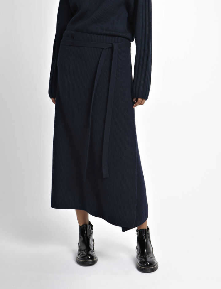 Soft Wool Wrap Skirt, in NAVY, large | on Joseph