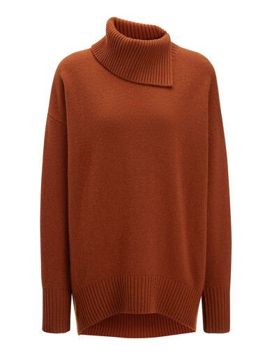Pull col montant en laine douce, in RUST, large | on Joseph