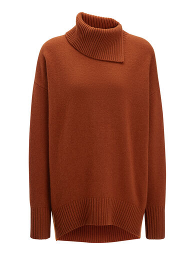 Soft Wool High Neck Sweater, in RUST, large | on Joseph
