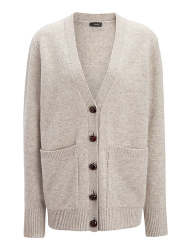 Soft Wool Boyfriend Cardigan, in BEIGE CHINE, large | on Joseph