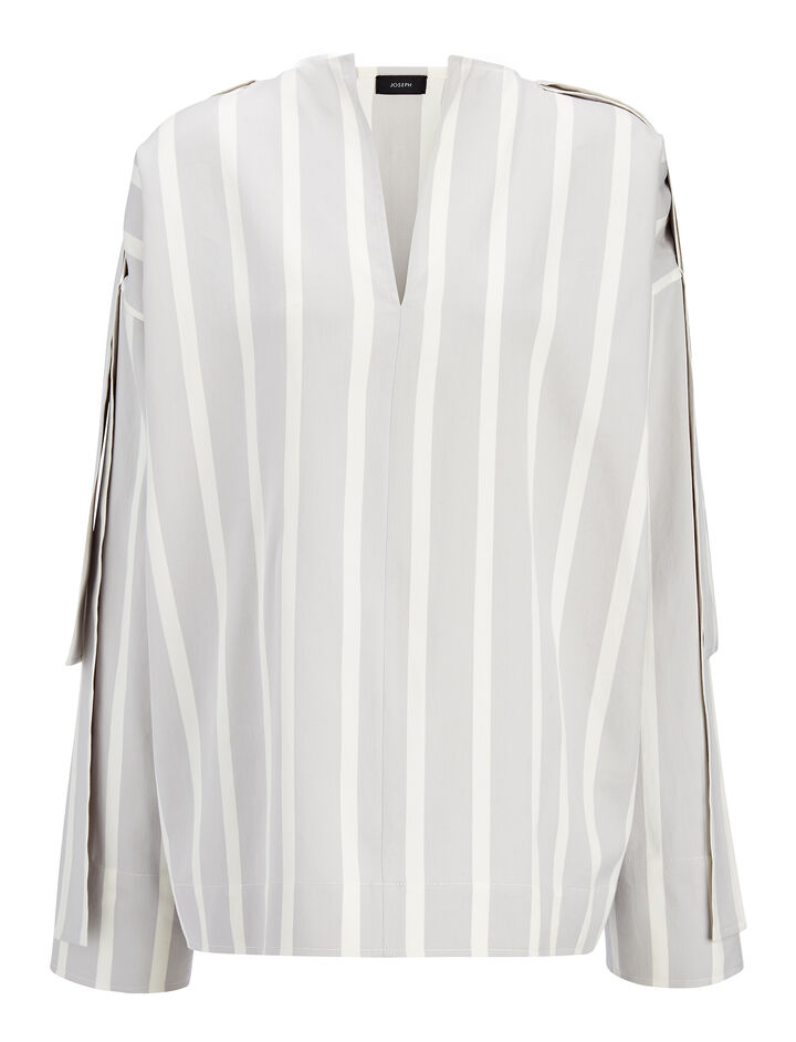 Wide Stripe Shirting Denver Blouse, in GREY/WHITE, large | on Joseph