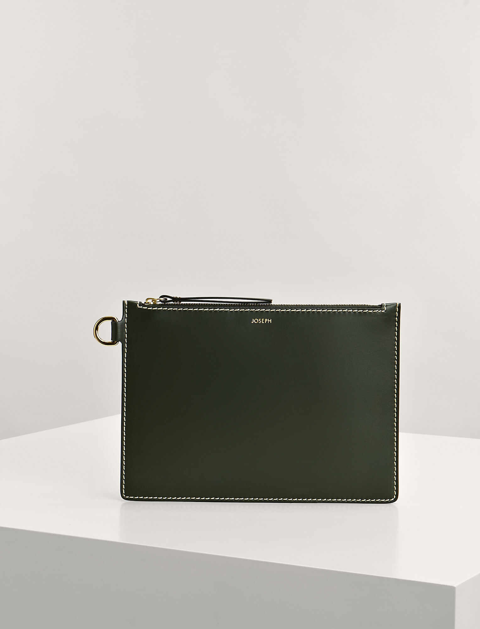 Joseph, Calf Leather Large Pouch, in FOREST