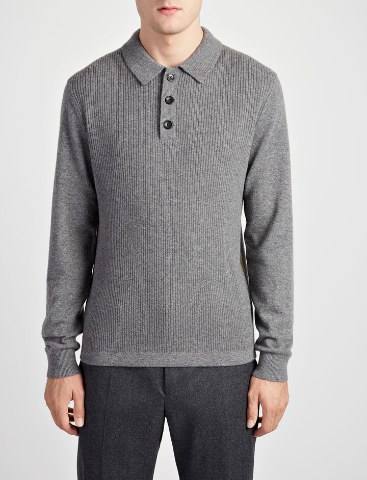 Mongolian Cashmere Polo, in GRAPHITE, large | on Joseph