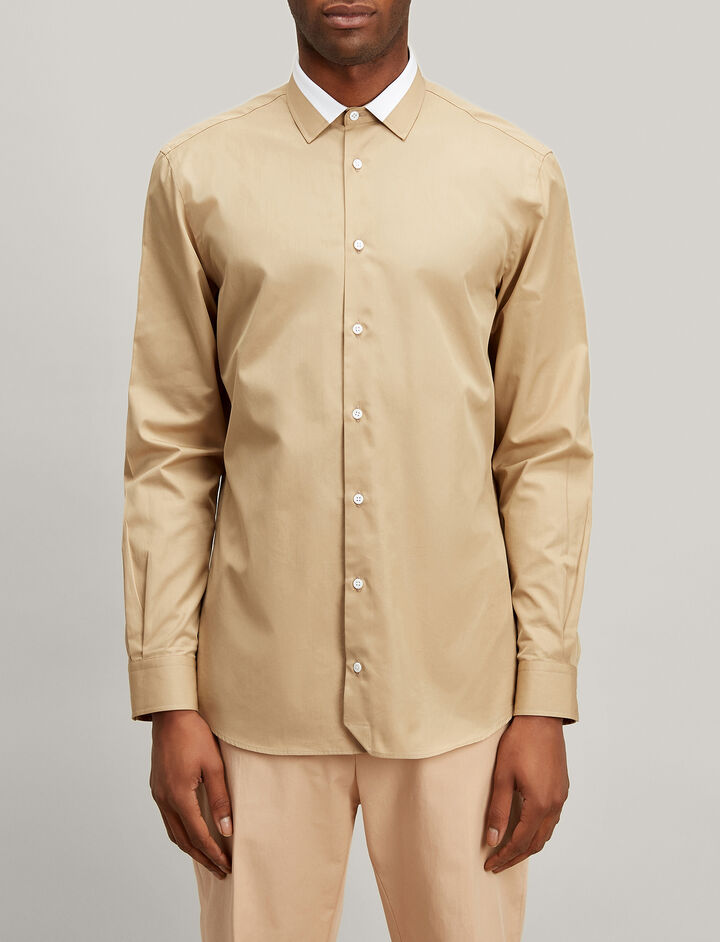 Joseph, Bi Colour Poplin John Shirt, in BEIGE