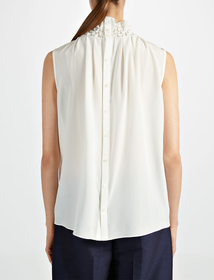 Crepe de Chine Gill Sleeveless Blouse, in OFF WHITE, large | on Joseph