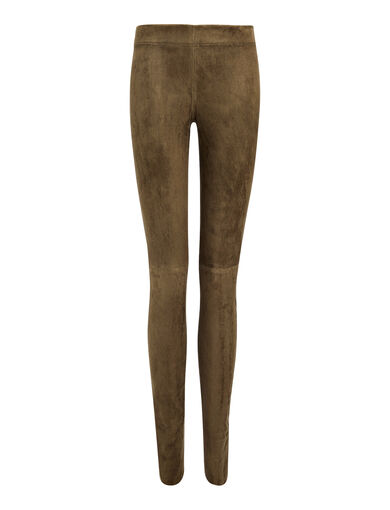 Legging en cuir stretch, in TAUPE, large | on Joseph