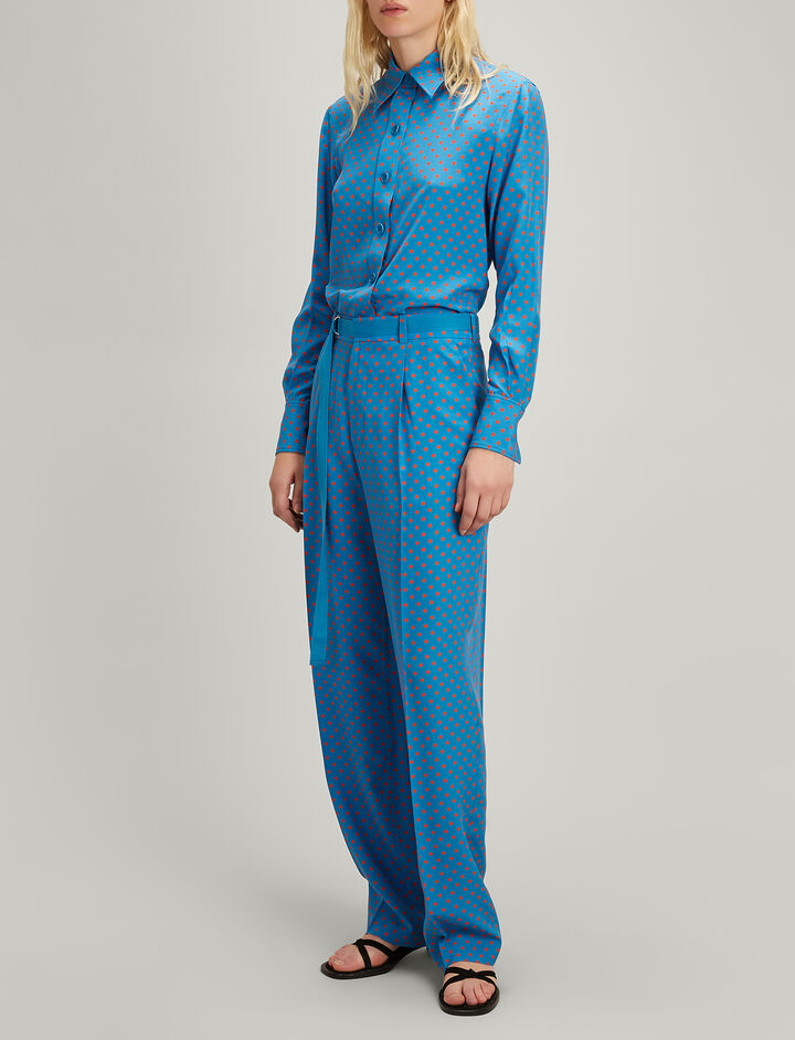 Spot Silk Toile Riska Trousers, in ETON, large | on Joseph