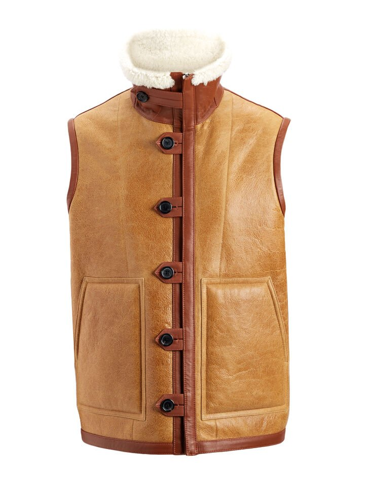 Cracked Leather Sheepskin Warfe Coat, in COGNAC, large | on Joseph