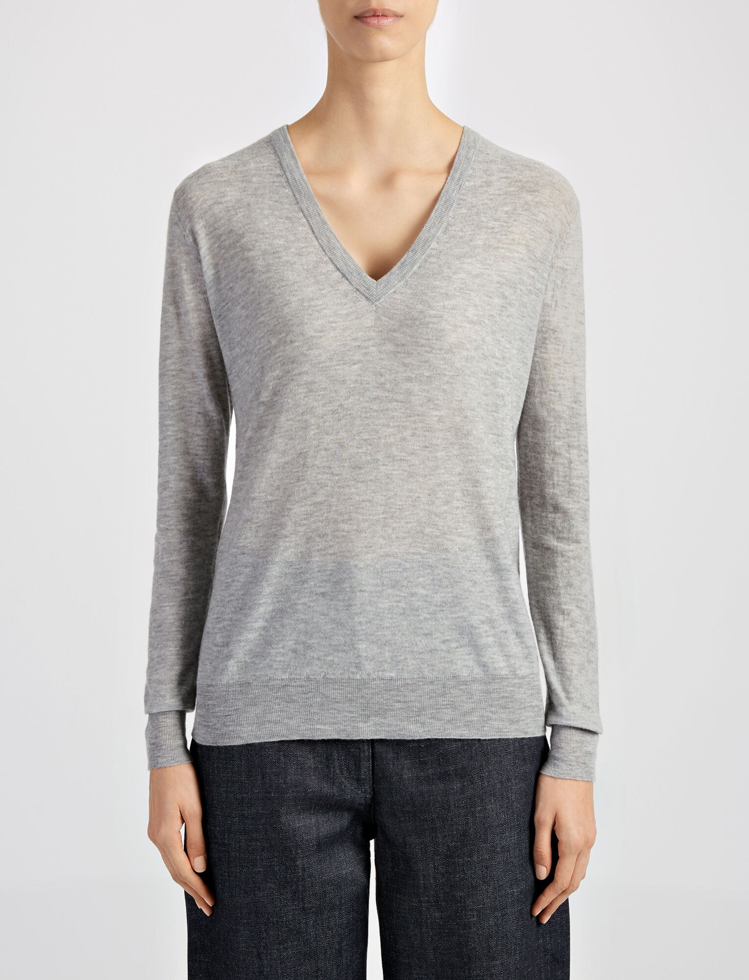 Cashair V Neck Sweater, in GREY CHINE, large | on Joseph