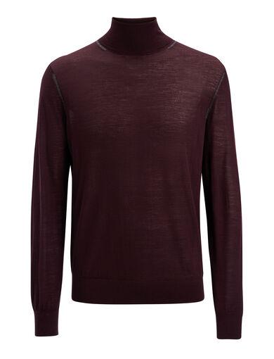 Light Merinos Roll Neck Sweater, in BURGUNDY, large   on Joseph