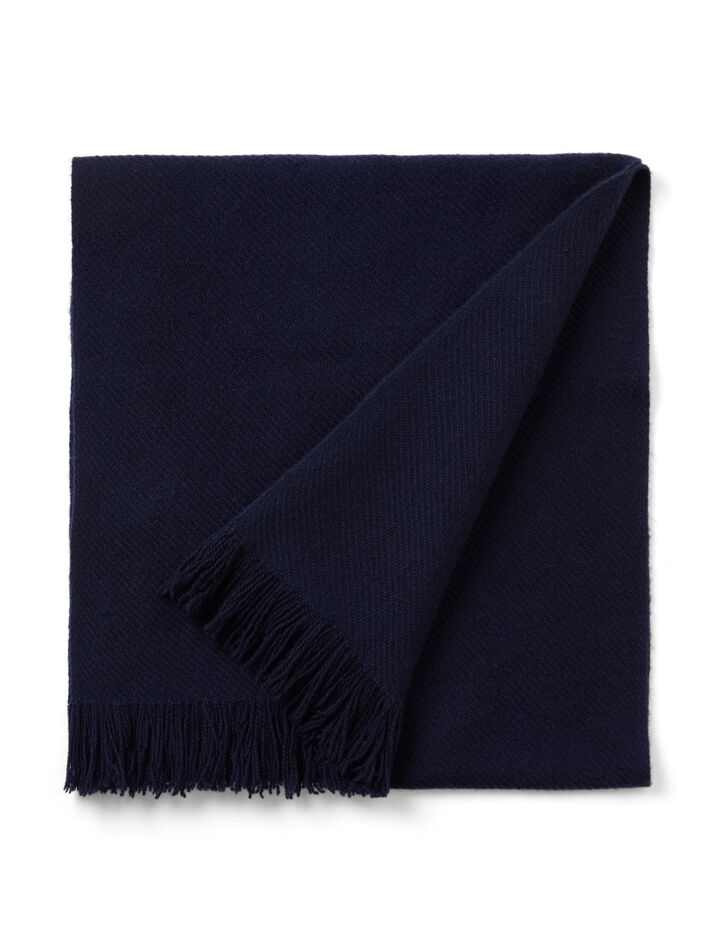 Cashmere Twill Fringe Scarf, in INK, large | on Joseph