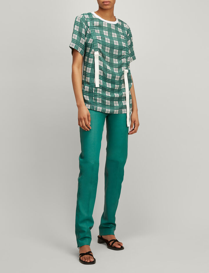 Joseph, Jeresey and Canvas Check Tee, in EMERALD