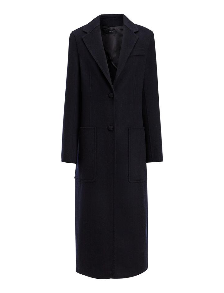 Double Wool-Silk Marvil Coat, in NAVY, large | on Joseph