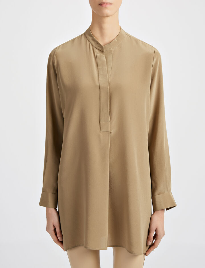 Crepe de Chine New Dara Blouse, in ARMY, large | on Joseph