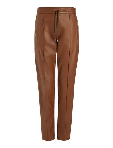 Pantalon Base en cuir nappa mat, in TABAC/MAHOGANY, large | on Joseph