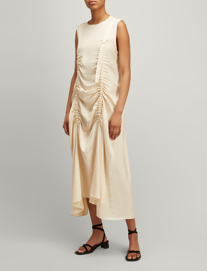 Viscose Silk Hall Dress, in VANILLA, large | on Joseph