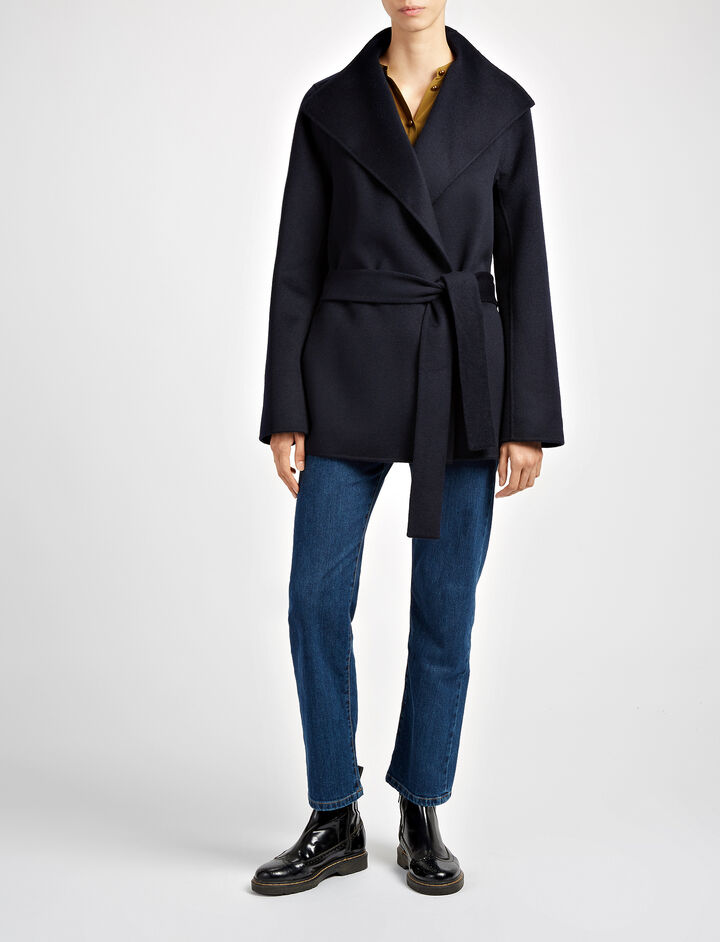 Double Face Cashmere Lima Short Coat, in NAVY, large | on Joseph