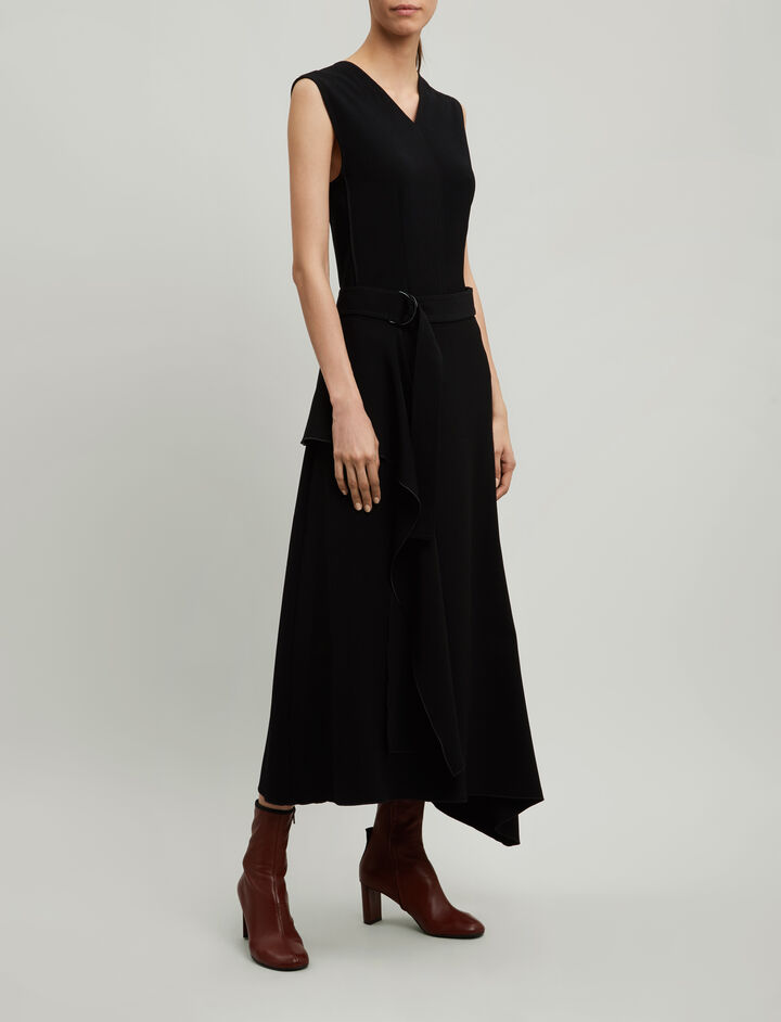 Joseph, Sybil Fluid Twill Skirt, in BLACK