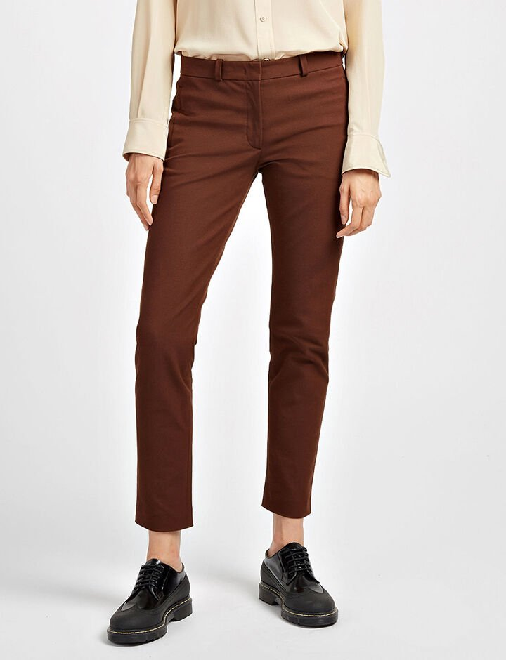 Gabardine Stretch New Eliston Trousers, in RUST, large | on Joseph