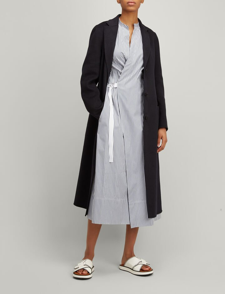 Joseph, Double Wool-Silk Archi Coat, in NAVY