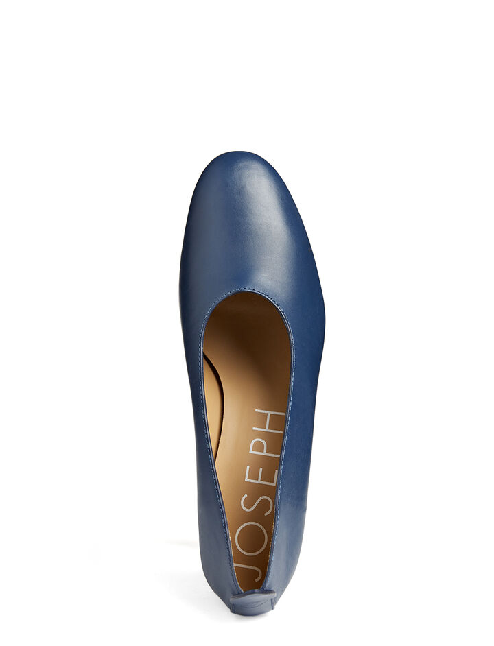 Calf Leather Ballerina Pump, in NAVY, large | on Joseph