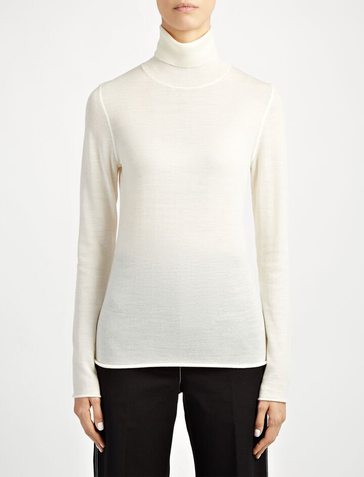Joseph, Fine Merinos Roll Neck Sweater, in ECRU
