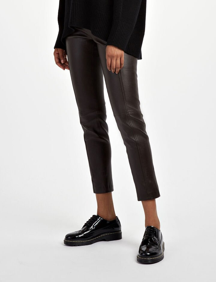 Leather Stretch Lenny Trousers, in BROWN, large | on Joseph
