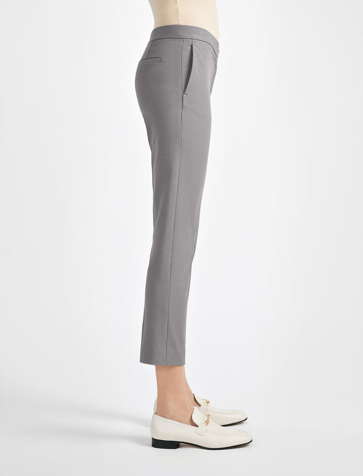 Gabardine Stretch Finley Trouser, in GREY, large | on Joseph
