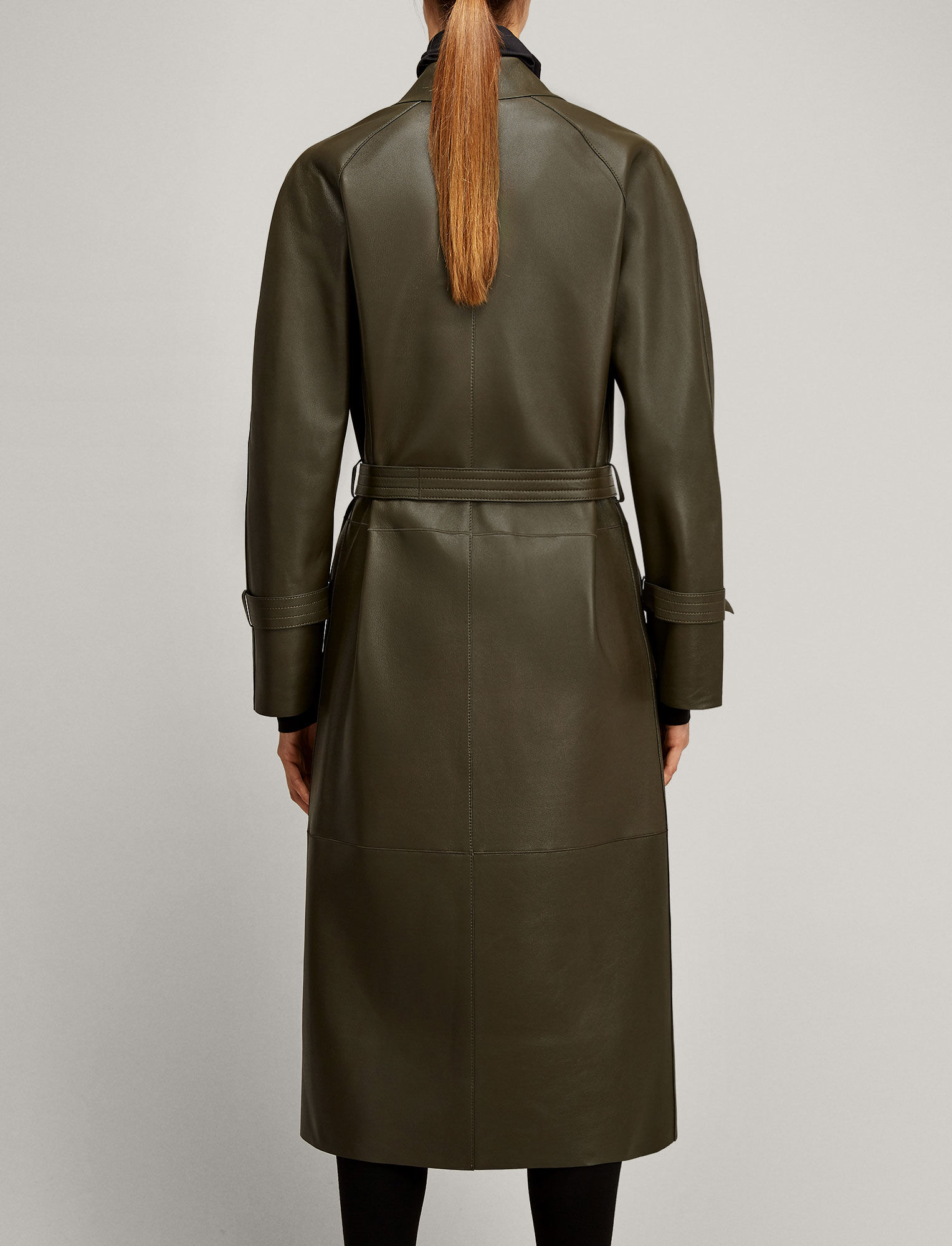 Joseph, Solferino Double Leather Coat, in KHAKI