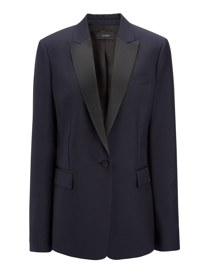 Wool Mohair Hampsted Tuxedo Jacket, in NAVY, large | on Joseph