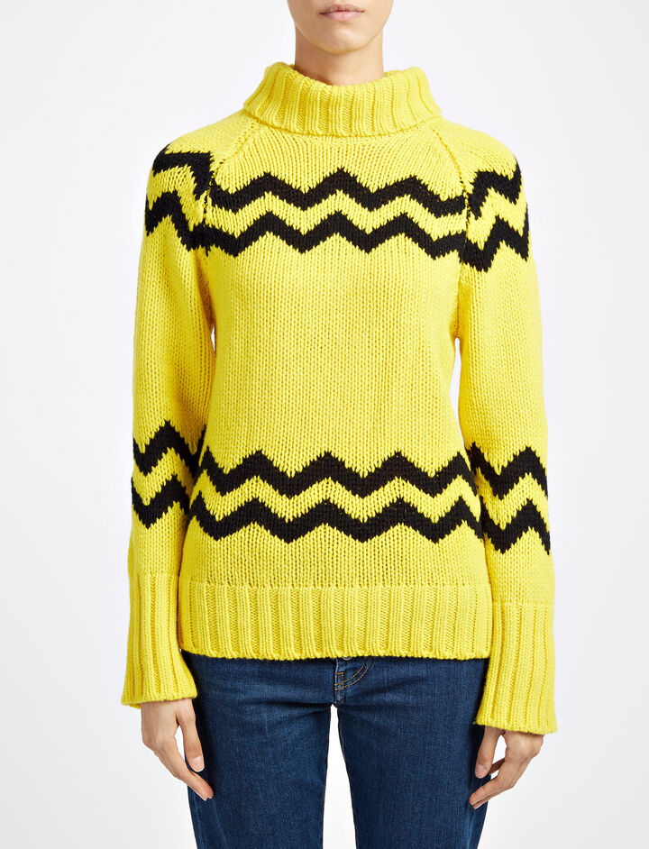 Chunky Intarsia High Neck Sweater, in YOLK, large | on Joseph