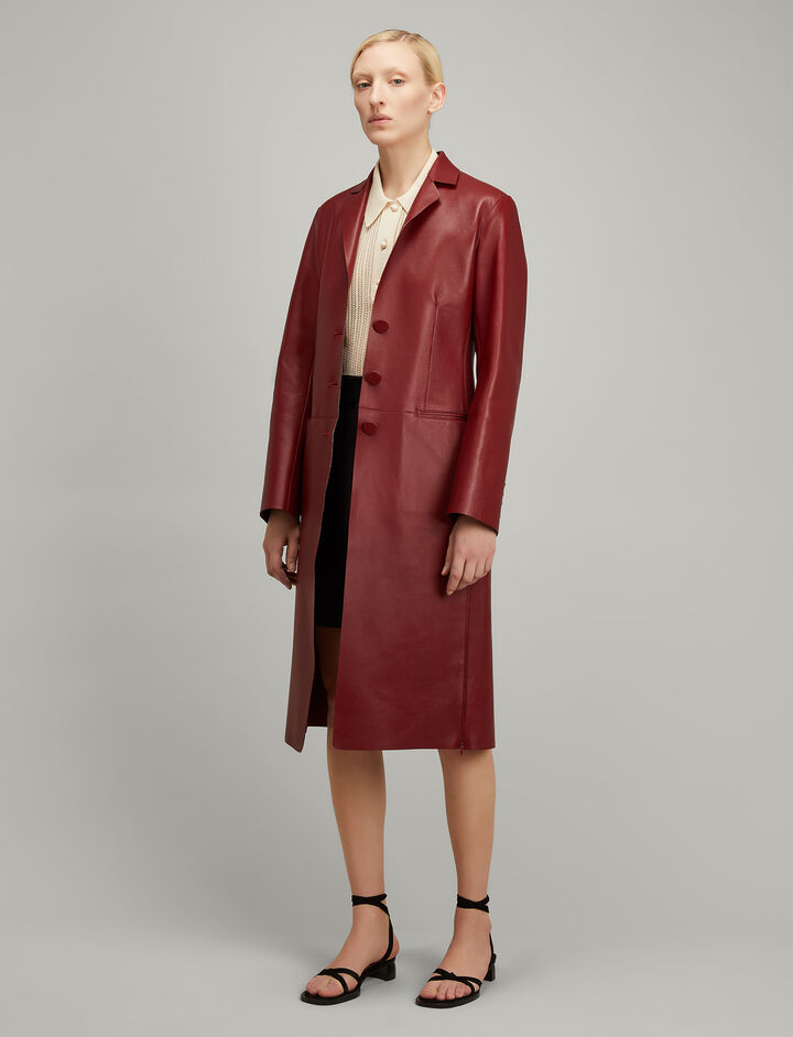 Joseph, Bonded Leather Anda Coat, in RUBY