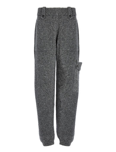 Shetland Knit Oversized Trousers, in CHARCOAL, large | on Joseph
