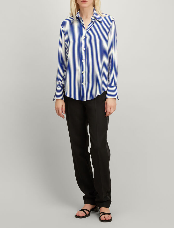 Joseph, Deck Chair Stripe Silk New Garcon Shirt, in COBALT BLUE
