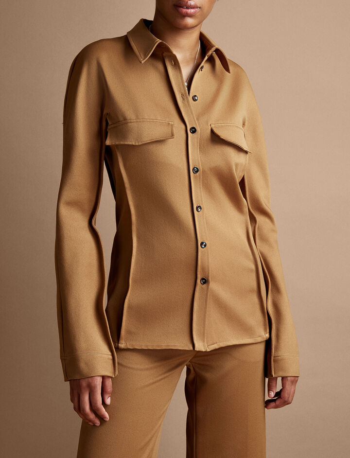 Joseph, Ozzy Wool Gabardine Shirt, in TOFFEE