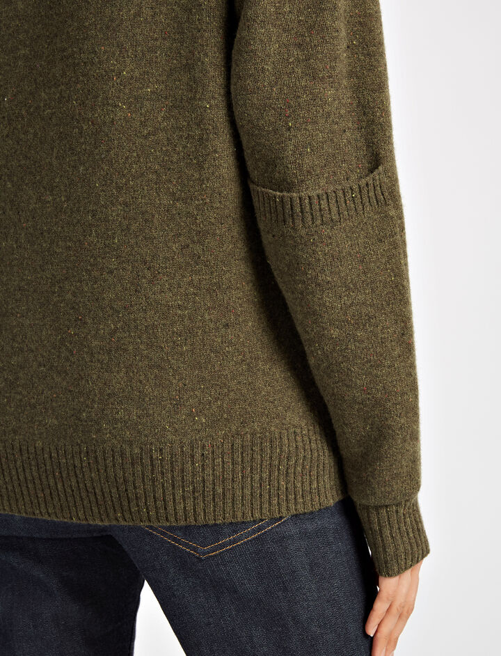 Pure Wool Knit Sweater, in ARMY, large | on Joseph