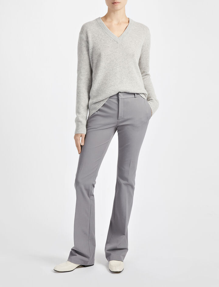 Gabardine Stretch New Rocket Trouser, in GREY, large | on Joseph