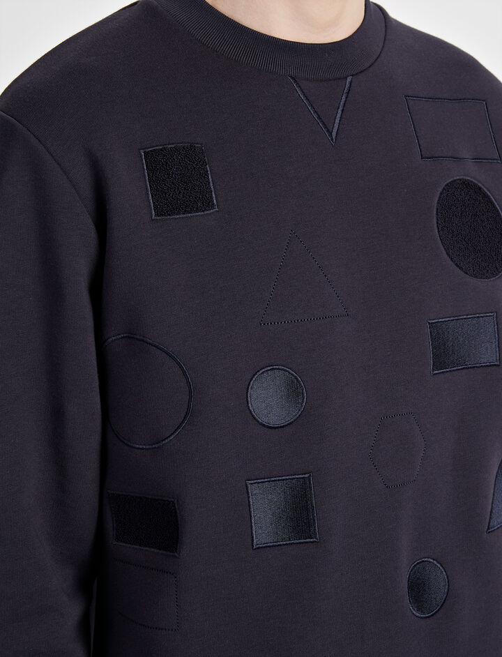 Sweatshirt Badges Sweater, in NAVY, large | on Joseph