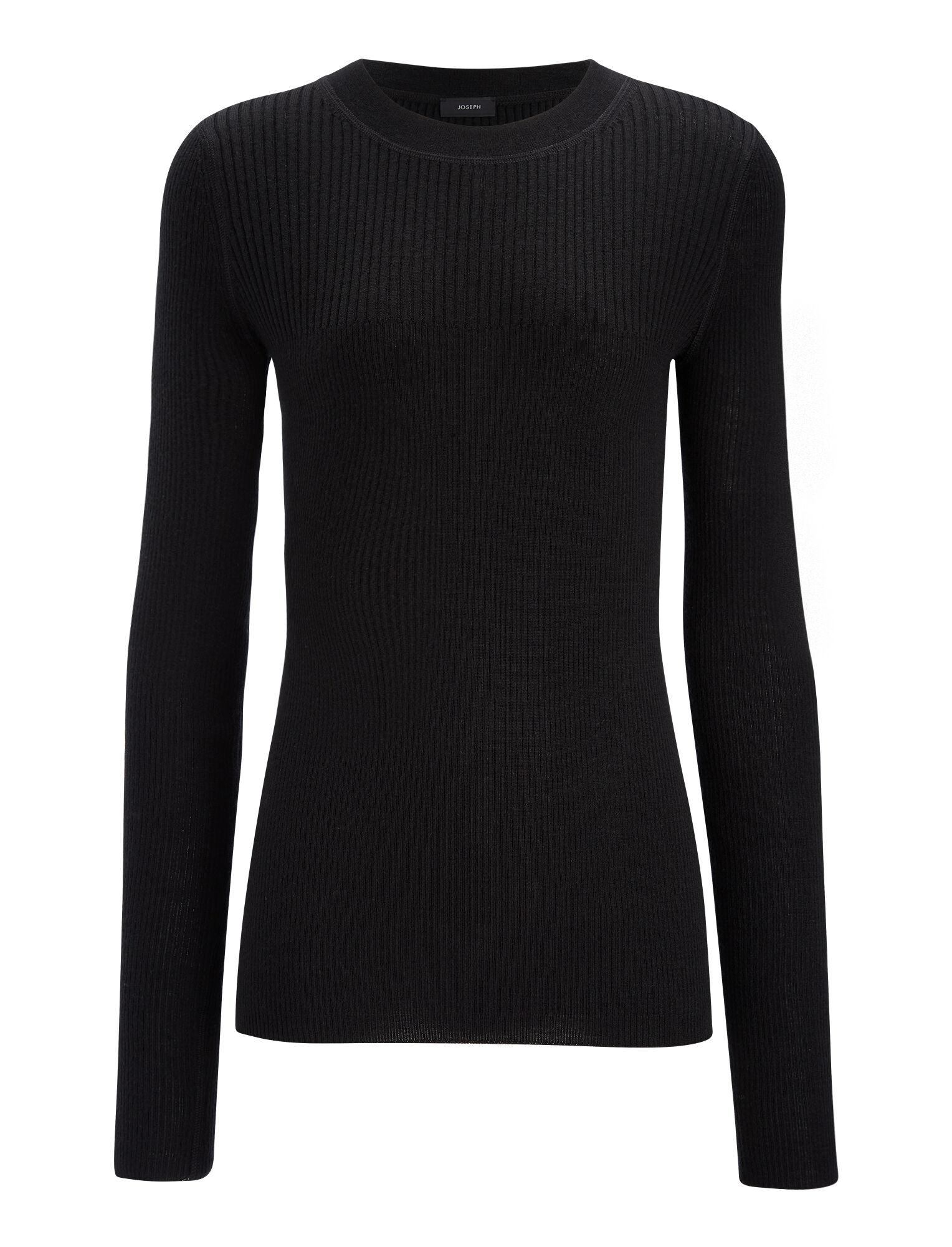 Joseph, Wool Silk Cashmere Rib Top, in BLACK ...