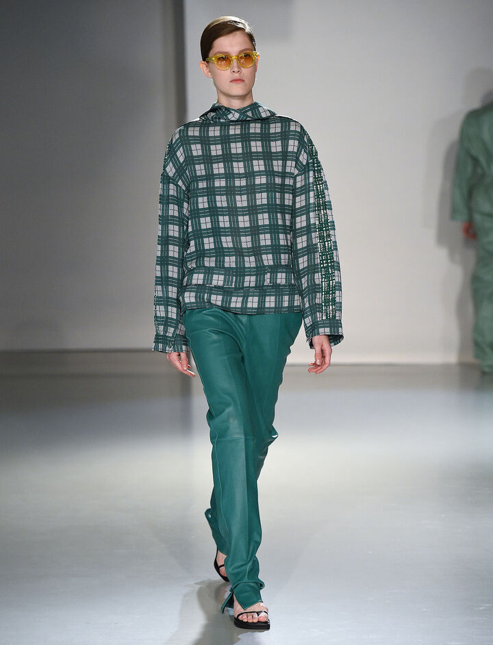 Canvas Check Royce Jacket, in EMERALD, large | on Joseph