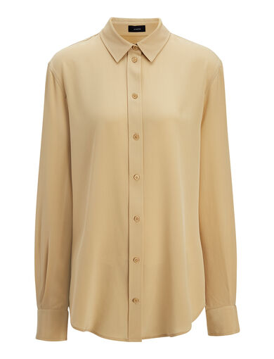 Crepe de Chine New Garcon Blouse, in STRAW, large | on Joseph