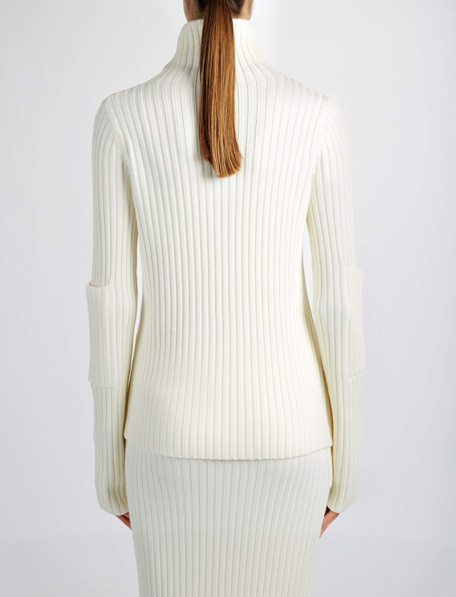 Wool Viscose Rib High Neck Sweater, in BONE, large | on Joseph