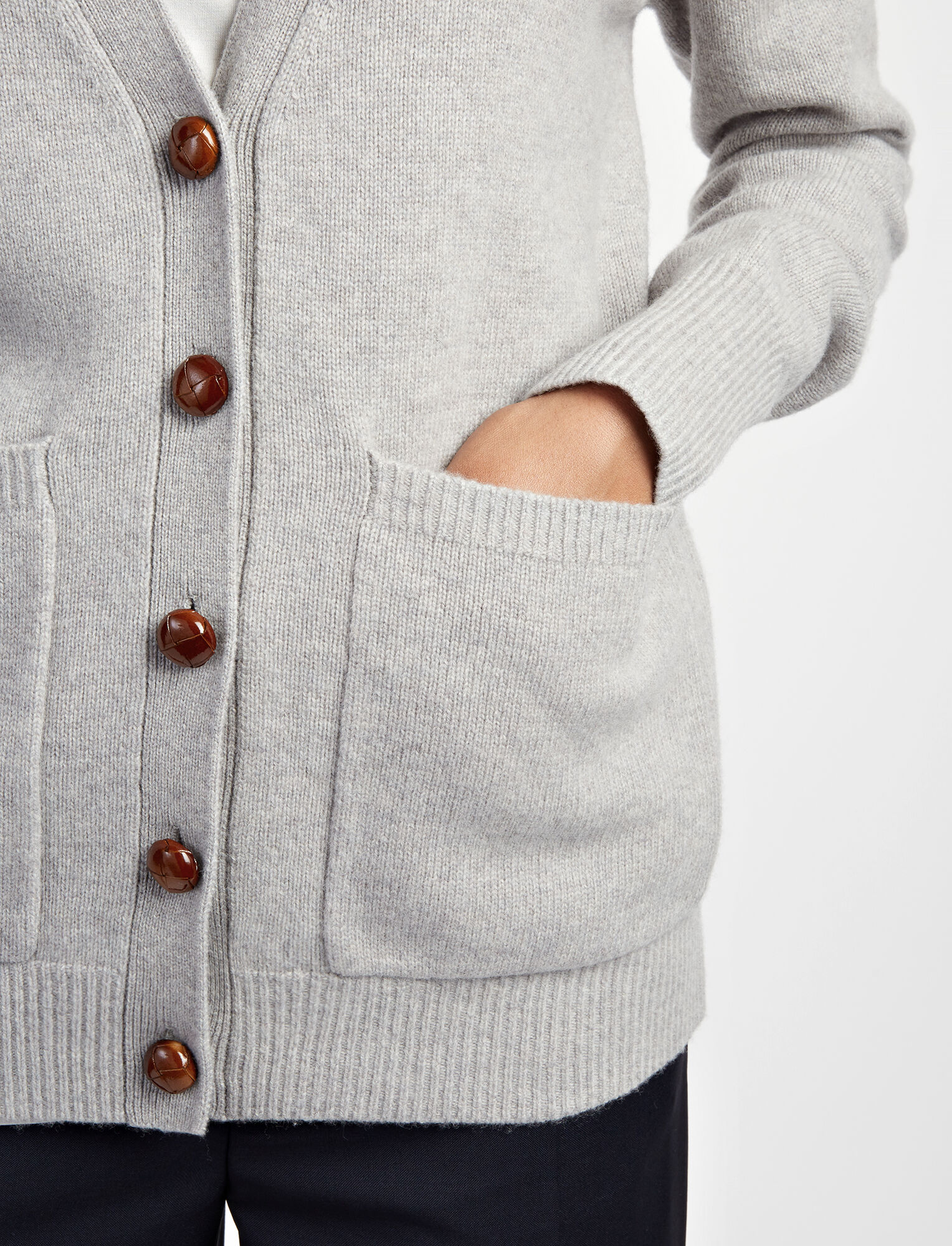 Soft Wool Boyfriend Cardigan in Grey | JOSEPH