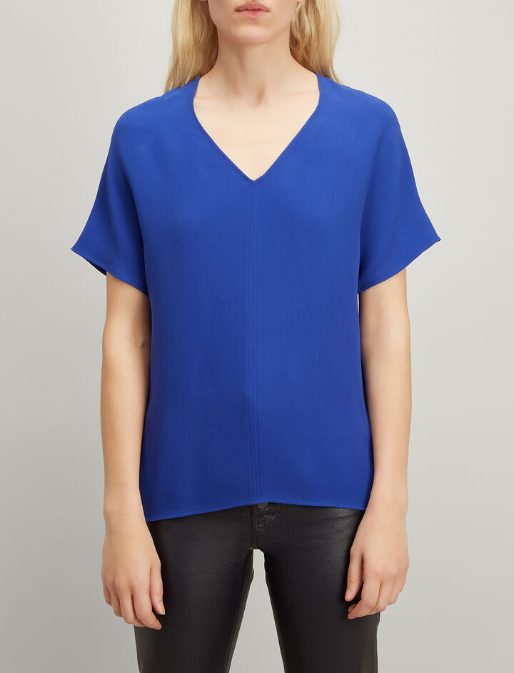 Crepe Silk Nevin Blouse, in COBALT BLUE, large | on Joseph