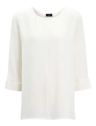 Matt Silk Malo Blouse, in ECRU, large | on Joseph