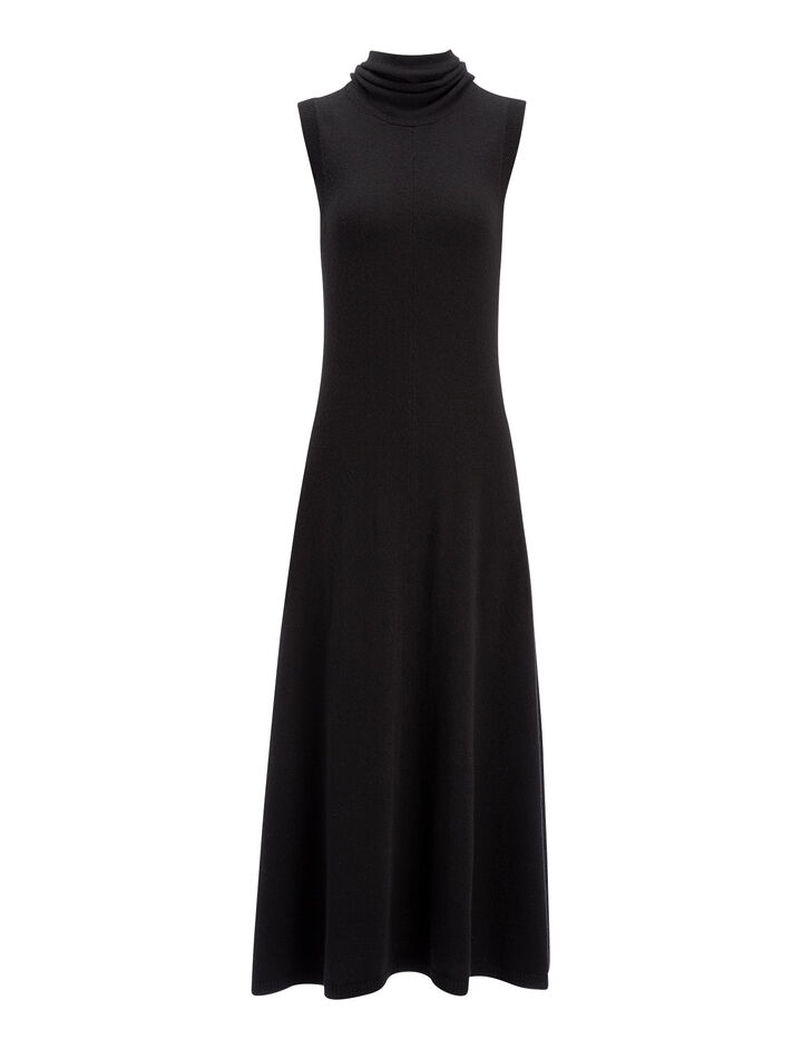 Soft Wool Joane Dress, in BLACK, large | on Joseph