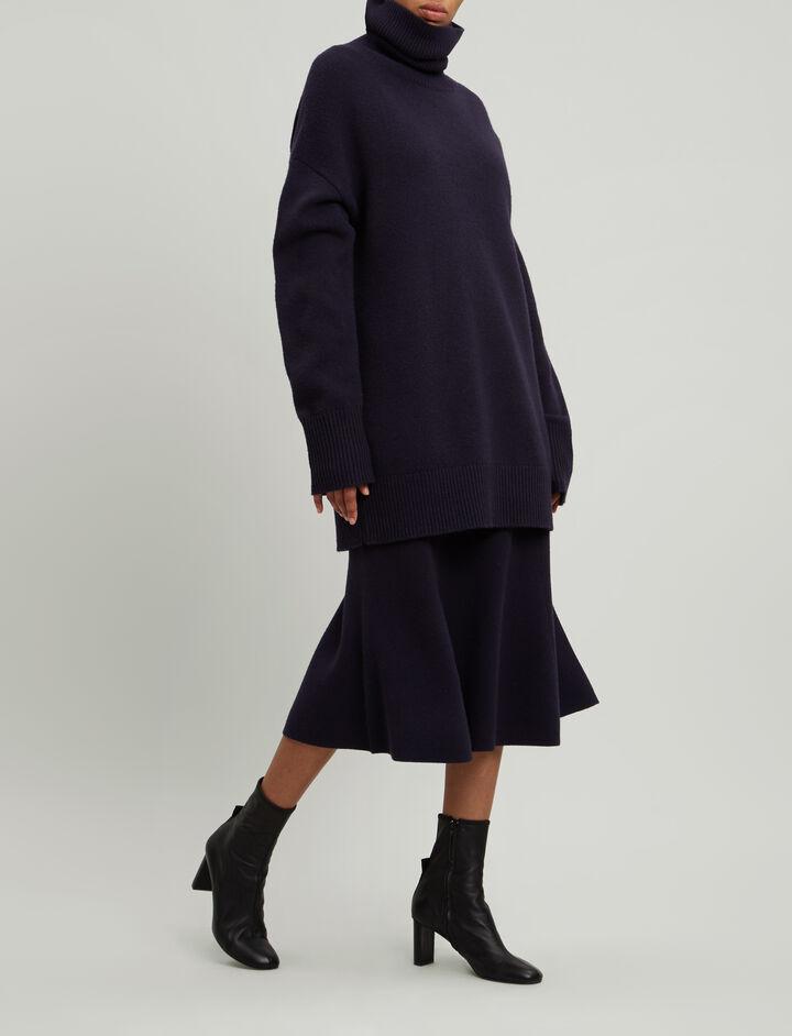 Joseph, Soft Wool Skirt, in NAVY